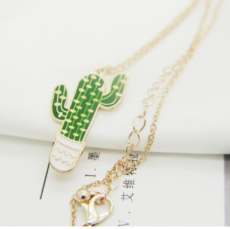 Shippng libre 6 PC / porción de accesorios de joyería de moda de esmalte collares colgantes planta de cactus