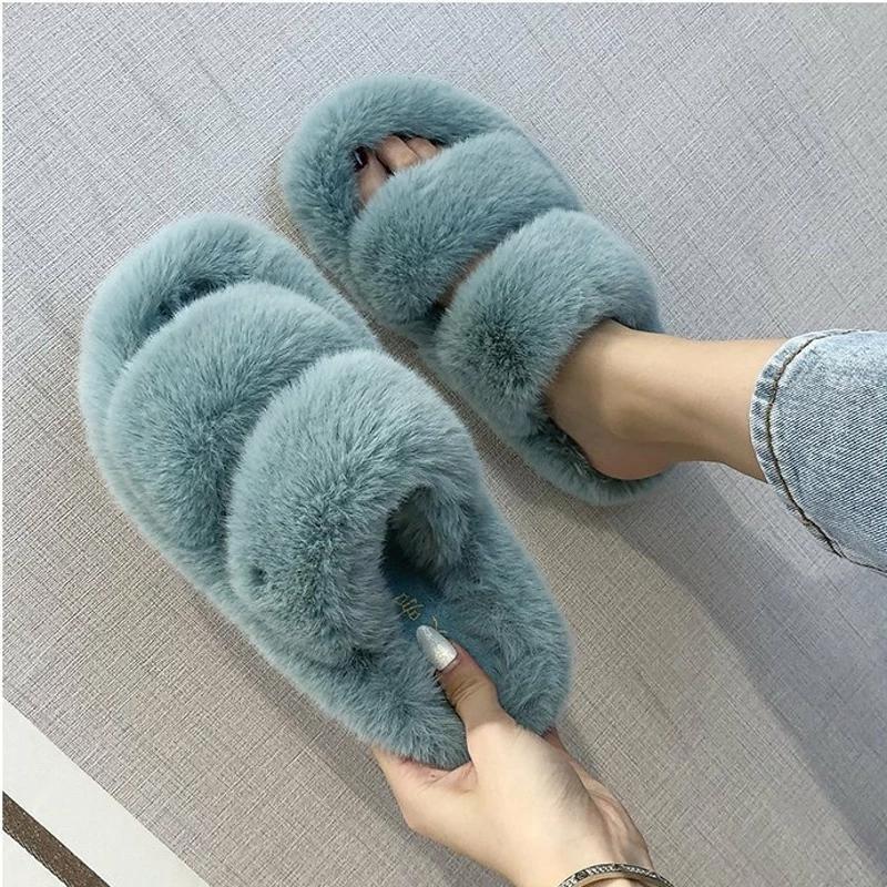 Зимние женские тапочки из искусственного мех дома уютные пушистые слайды удобные открытый носок дизайнер пушистый черный плюшевый теплый дом женская обувь