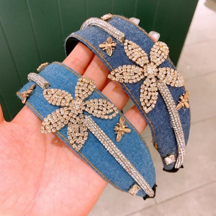 Corrida de faixa acolchoada de faixa de strass enrolamento cabelo enrolamento vintage vintage denim pano envolto largamente bandana 2 cores
