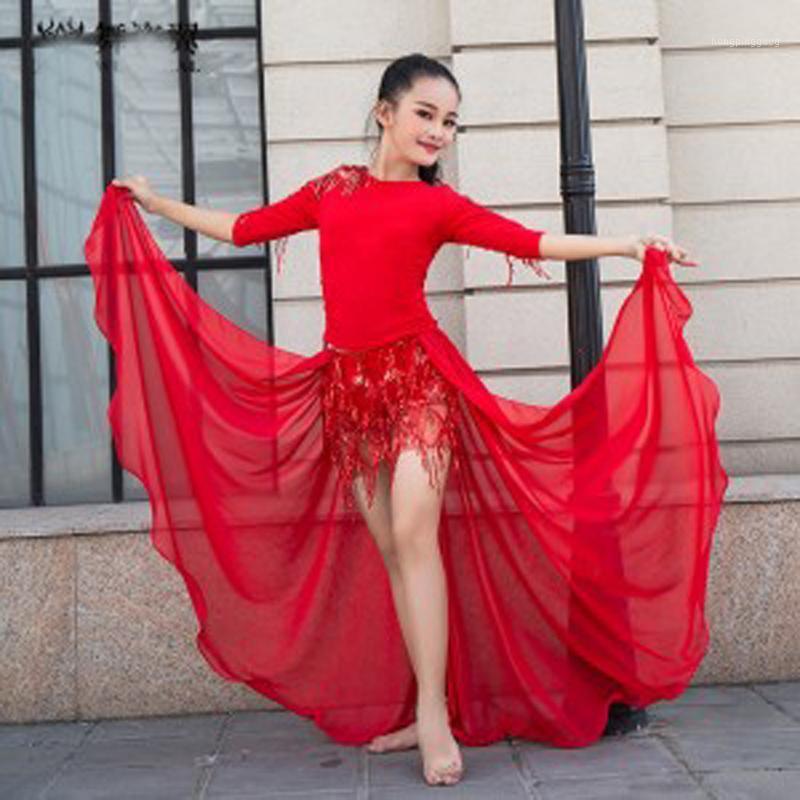 Студенческая одежда 2021 Детская танцующая одежда для живота 3шт / комплект восточные танцы наряды для девочек длинные юбки набор платья Costumes1