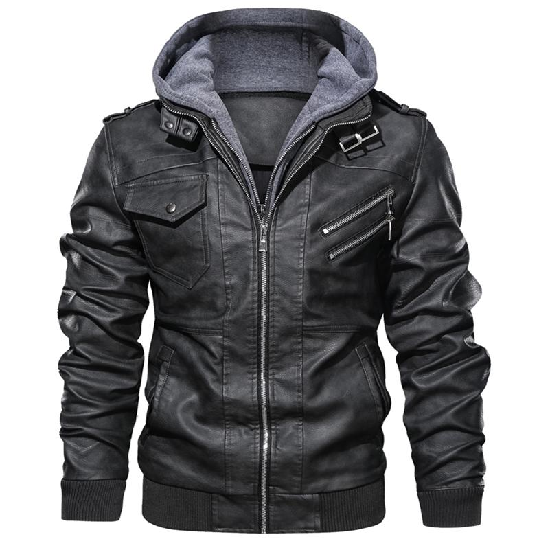 Vestes en cuir PU de moto pour hommes Automne hiver Casual Oblique Zipper Faux Manteaux Mâle motard Cuir Vestes Euro Taille 3XL 201114