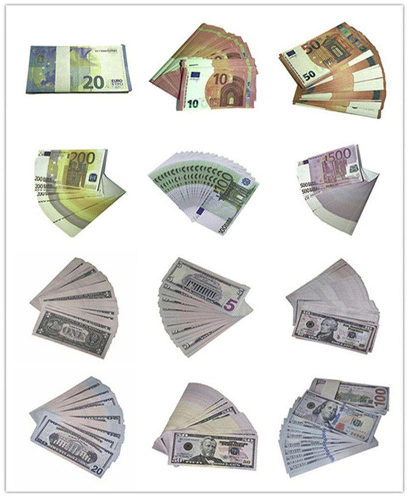 100 pz / confezione di Bill contraffatti non marcato Bills Party gioco Performance Puntelli Dollar Euro Pound Bambini Giocattoli A68