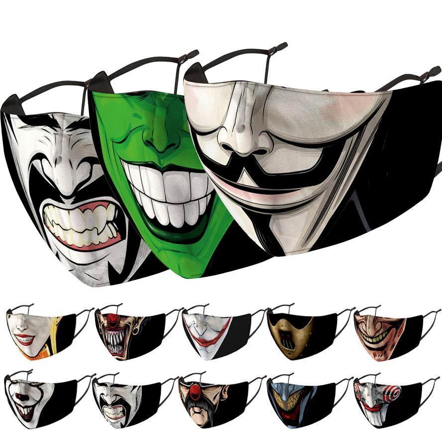 rüzgar geçirmez değiştirilebilir yıkama maskesi pus toz geçirmez Halloween palyaço yüz maskeleri moda yüz maskesi erkekler kadınlar facemask baskılı mask