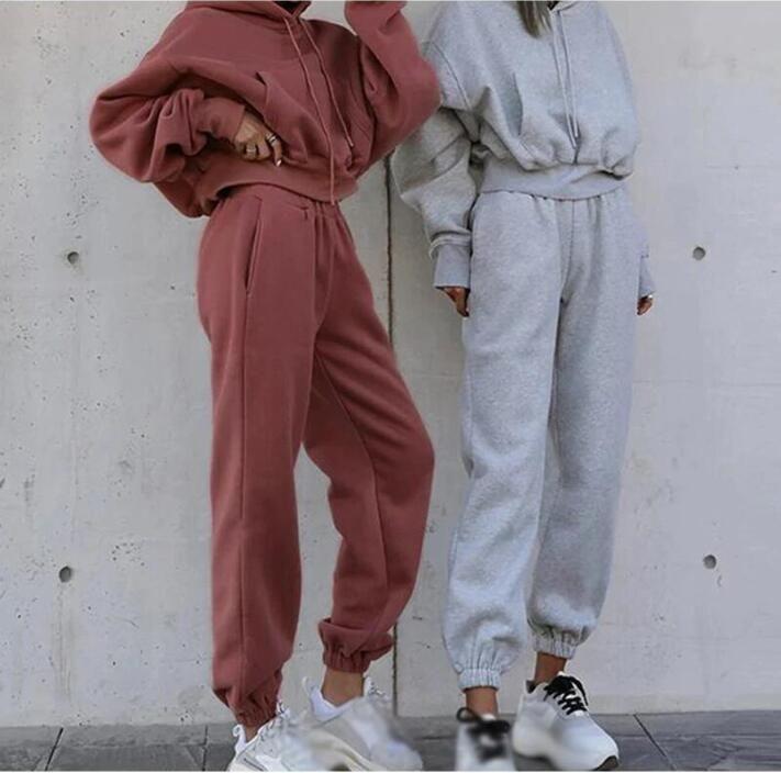 Casual Mujeres Sport Tacksuit Fleece Jersey Pantalones con capucha 2 Dos piezas Mujeres Set Outfit Casual Para mujer Trajes de sudor Sweatsuits Ropa Ropa