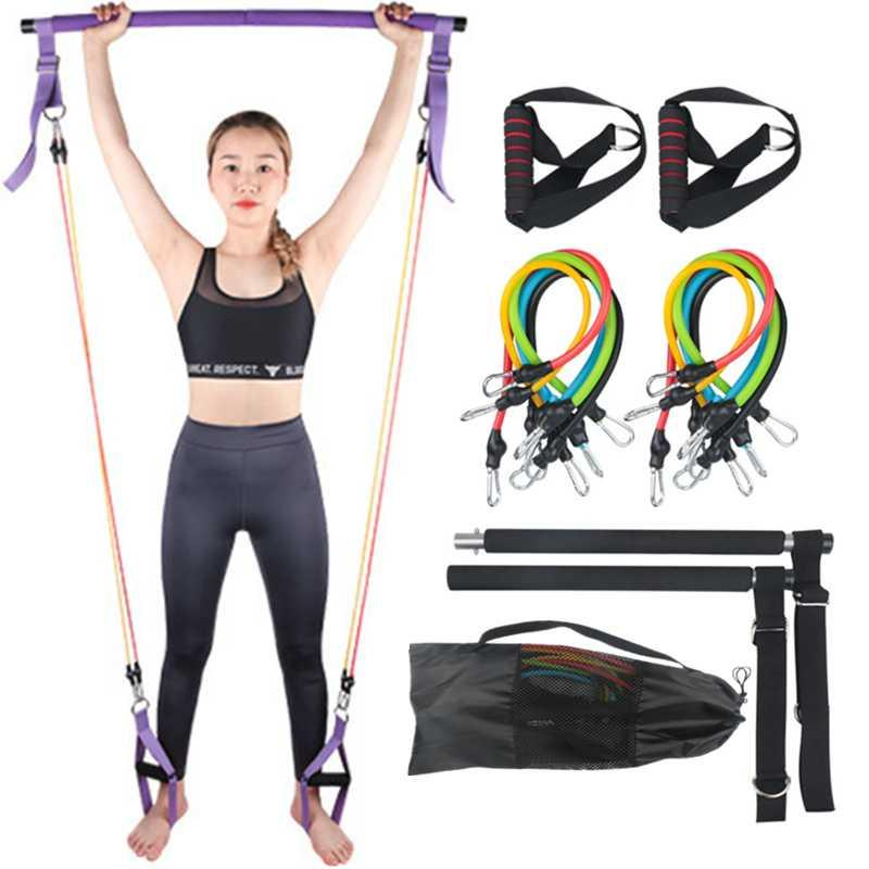 Resistance Bands 100LB Adjustable Pilates Bar Set With 5 Portable Gym Stick For Full Body Workout Crossfit Yoga Home Ftiness