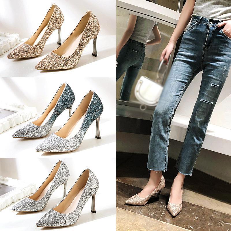 Dress Shoes Fashion Gradient Color Bride Tacchi da sposa Principessa Damigella d'onore Cristallo Luxurious Golden Silver Stiletti da donna