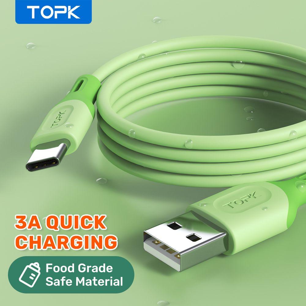 Topk مايكرو USB نوع C كابلات الهاتف الخليوي ل xiaomi الأحمر مي ملاحظة 9 3A شحن سريع سيليكون سيليكون كابل بيانات الهاتف المحمول لسامسونج هواوي FY7435