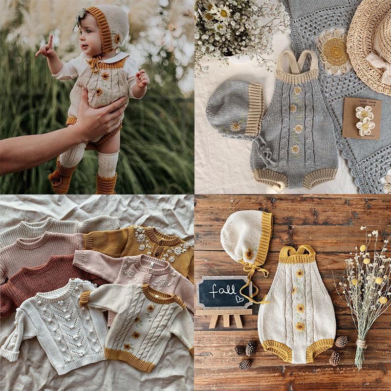 EnkeliBB Красивого прекрасного ребенок Осень Зима Kniting Ползунки для младенцев мальчиков и девочек Зимней одежды Радуга ромашки Onesie Wild Вава 1021