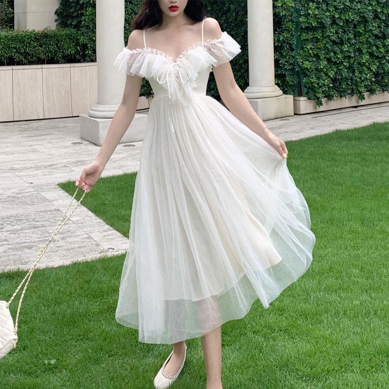 Summer Fairy Dress Desamo Donne in stile francese in stile francese in chiffon elegante vestito casual allentato sexy sexy chic donne 2020 nuovi arrivi