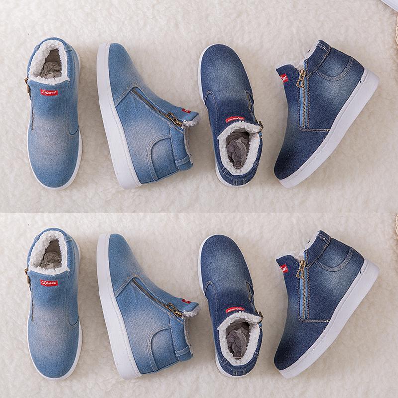 Venta caliente Cuculus 2020 Winter Plataforma Botas de mujer Botas de invierno caliente estupendo de los zapatos ocasionales de las mujeres del vaquero botas del tobillo para las mujeres 4 COLOR