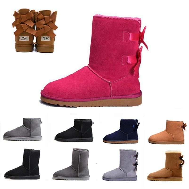 Fuchsia Schnee Winter warme WGG Stiefel Leder Frauen Grau Klassische knien Hälfte Lange Stiefel Ankle Schwarz Grau Kastanie Bailey Bow Womens Mädchen Brown