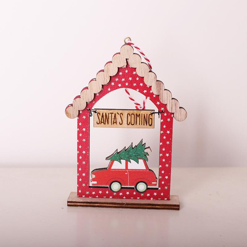 Бесплатная доставка Рождество Кулон деревянный дом-образный Рождественская елка кулон украшения красный автомобиль украшения рабочего Рождественские украшения F7703