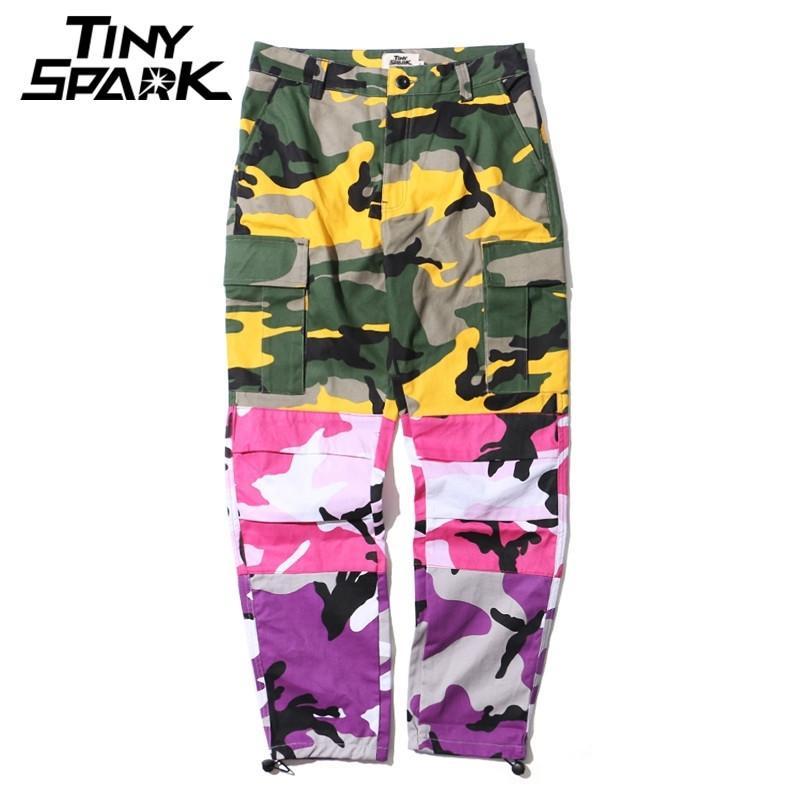 Tri Colo Camo Patchwork Cargo Pantalon Hommes Baggy Pantalons tactiques Hip Hop Casual Pantalon Multi Poche Camouflage Streetwear New Y201123
