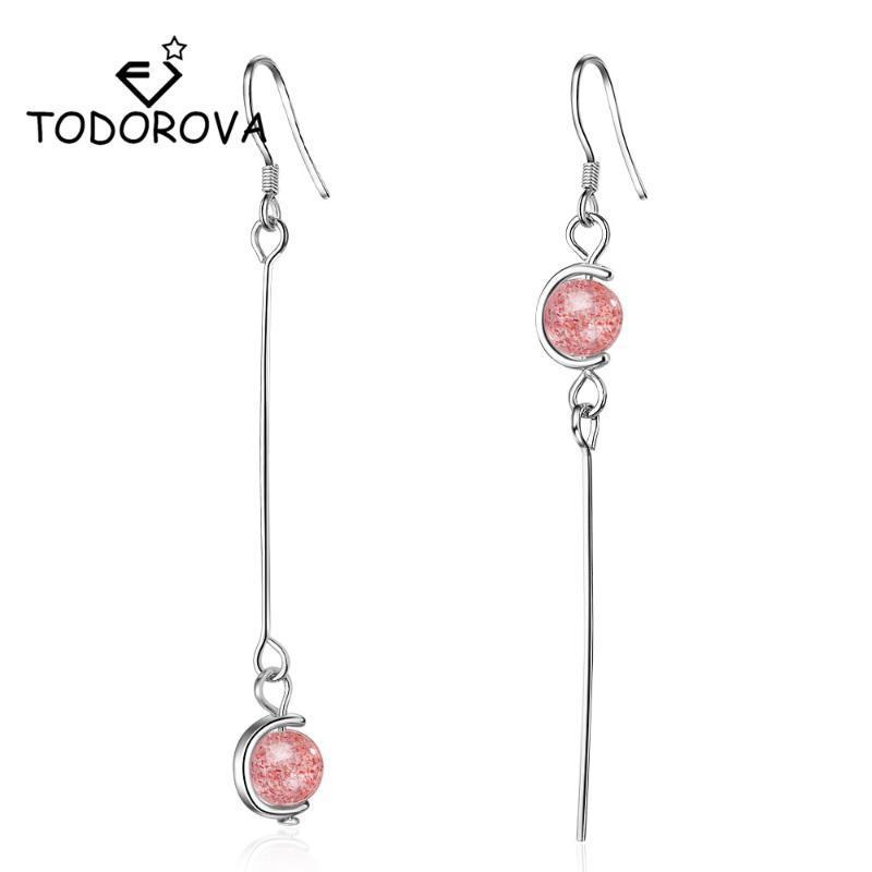 Dangle & Chandelier Todorova Korean Fashion Strawberry Crystal Moonstone Long Chain Tassel Earrings For Women Statement Jewelry Oorbellen