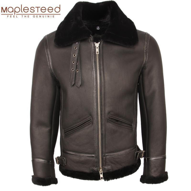 Classic B3 Combattant Jacket 100% Naturel Coucherling Coelet Hommes Pilote Cuir Veste Cuir manteau de fourrure Épais Hiver Vêtements chauds M361