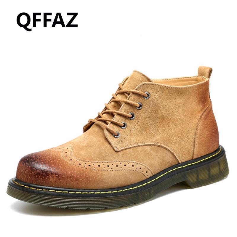 QFFAZ 2020 New Men Botas Moda Primavera Calçado Suede couro homens sapatos Lace Up Casual Curto Bota Brown Cáqui Botas