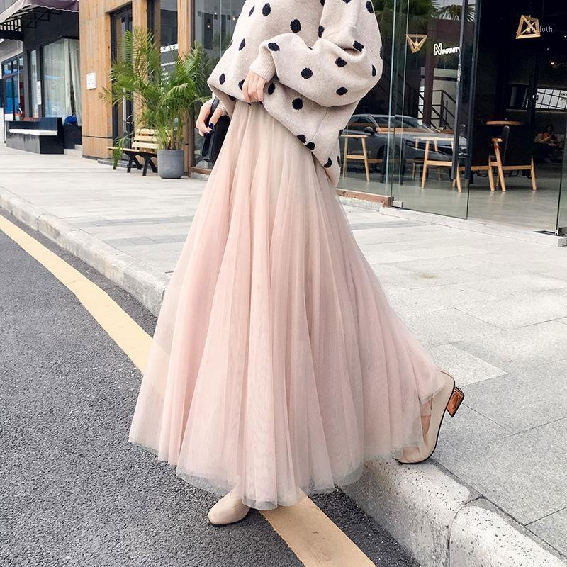 Corea Moda Primavera Verano Falda Falda Casual All-Coincidente A Línea Estudiante Falda larga Dulce Loveliness Gauze Maxi D1791