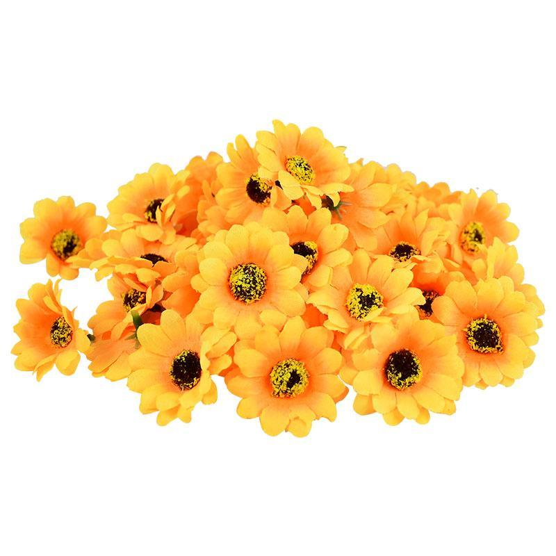 Декоративные цветы венки 50 шт. 4.5 см Многоцветная маргаритка Цветочная головка Мини Шелковый подсолнечник искусственный для домашнего свадебного декора DIY венок
