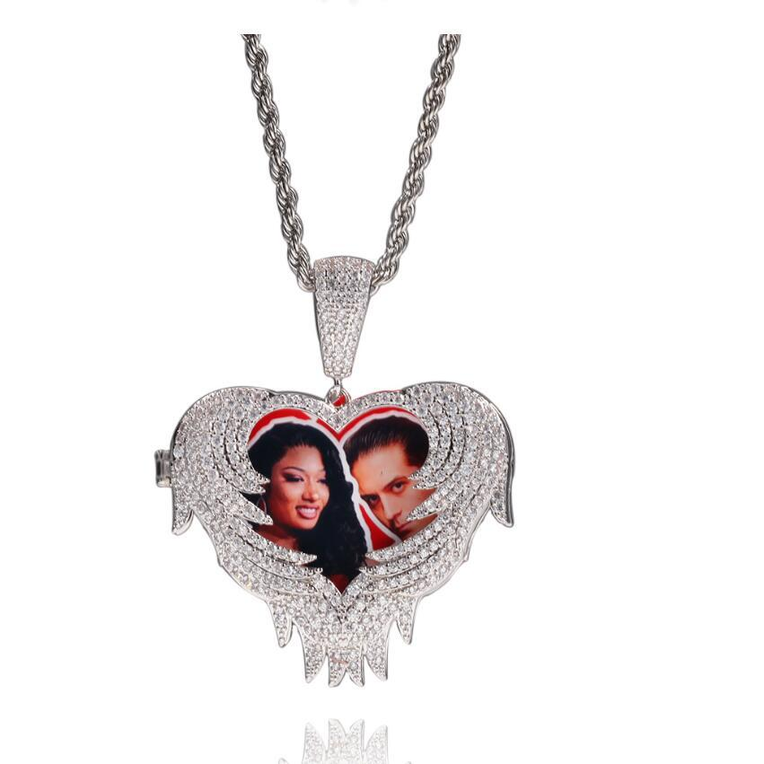 Foto personalizado amor flip colgante colgante collares para hombres mujeres hip hop lujo diseñador bling diamante imagen colgantes amigo familia joyería l