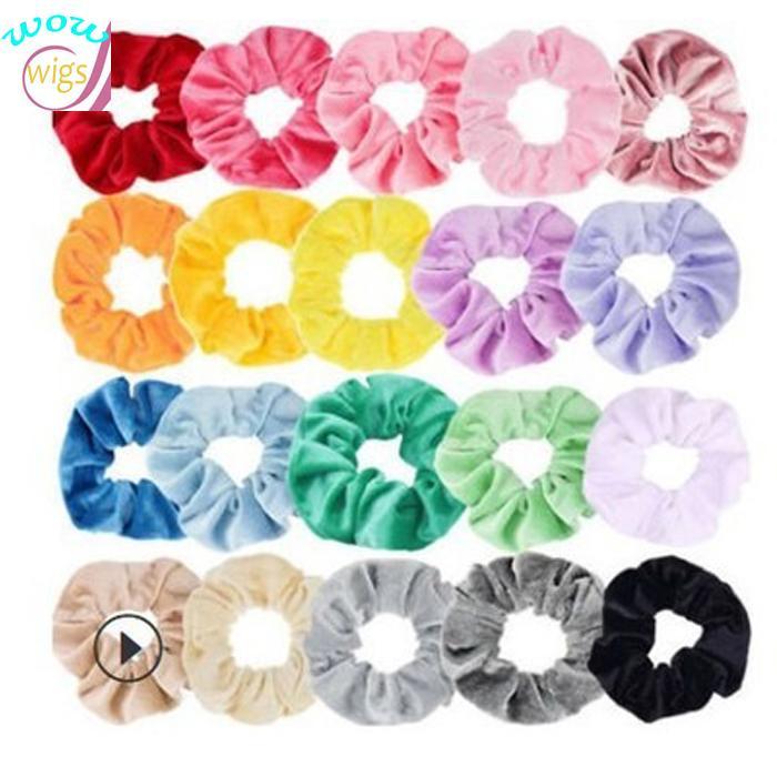 20 Farben Korea Scrunchie Velvet Haar Scrunchie elastische Haar-Bänder Solid Color Frauen-Mädchen-Kopfbedeckung Pferdeschwanz-Halter-Haar-Zusätze