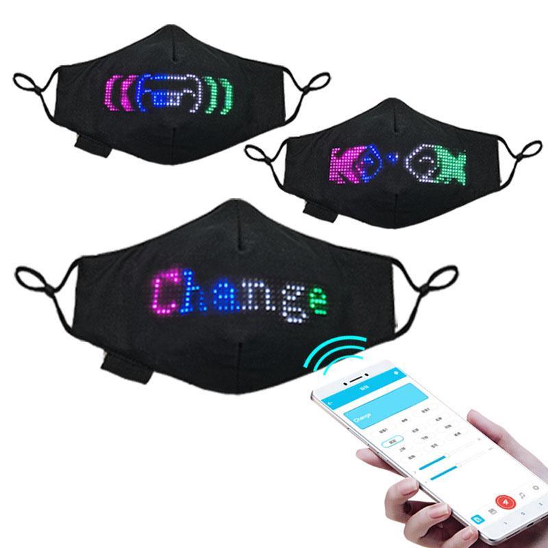 Программируемые освещающий Красочный дисплей LED Face Mask, Хэллоуин Рождество, Bluetooth соединение с Smartphone App, Тканевые маски для лица