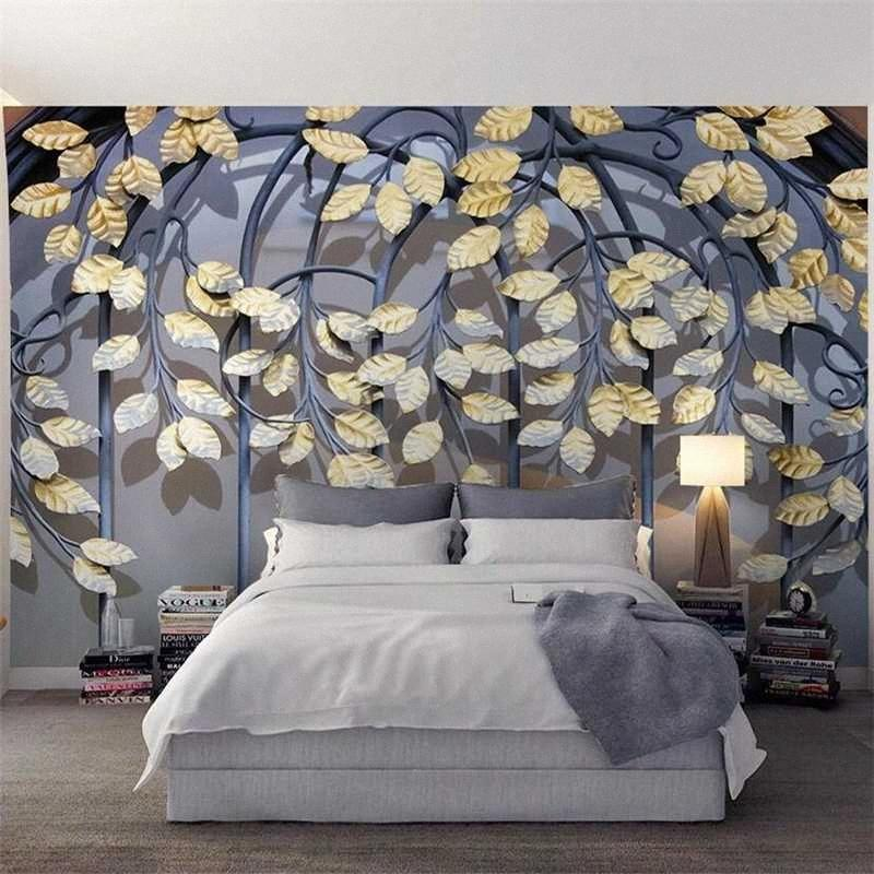 Diantu costume retrò Ferro Golden Leaf TV 3D Modern Wall personalizzato grande murale Verde Wallpaper Papel de Parede para quarto murale IGME #