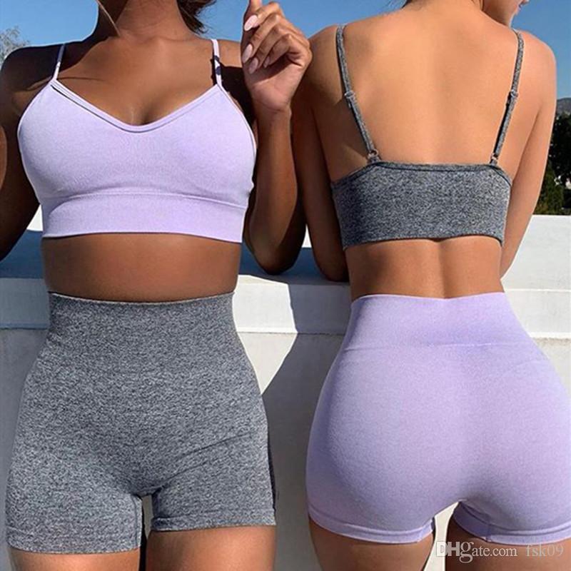 2 PC / sistema inconsútil de las mujeres Trajes de la yoga de la aptitud de los deportes de gimnasio ropa transpirable sujetador femenino que se ejecuta polainas entrenamiento Set Top + Short