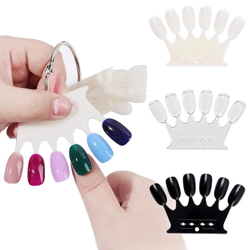 6 * 10 шт. Crown Form Fame False Nail Tips Plastic Pollish Switch Natural / Clear / Black Nail Art Дисплей, показывающий полку DIY Pratice Manicure Tools