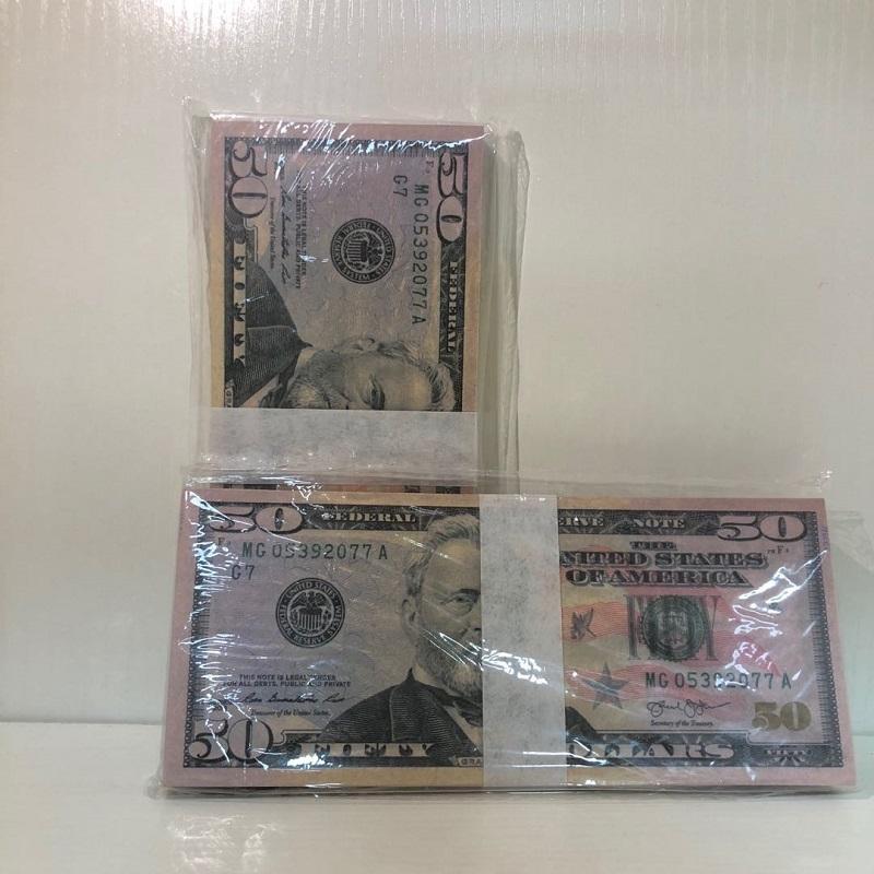 Hohe Großhandel Bar Atmosphäre Party Quality Requisiten Währung inQDA Papier 100 American Send-Requisiten Fabrik-Dollar 50-5 Stück / Paket Itacq
