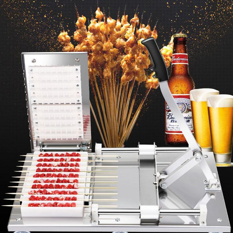 Beijamei Manuel Mutton Kebap Makinesi / Paslanmaz Çelik BARBEKÜ Bambu Et Şiş Makinesi / Satay Dize Yapma Makinesi