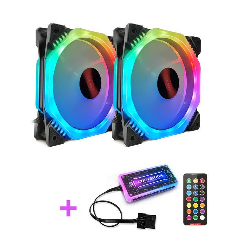 Fans & Coolings COOLMOON FANGZHOU2 Computer Case PC Cooling Fan RGB Adjust 120mm Quiet + IR Remote Cooler CPU TWO In O