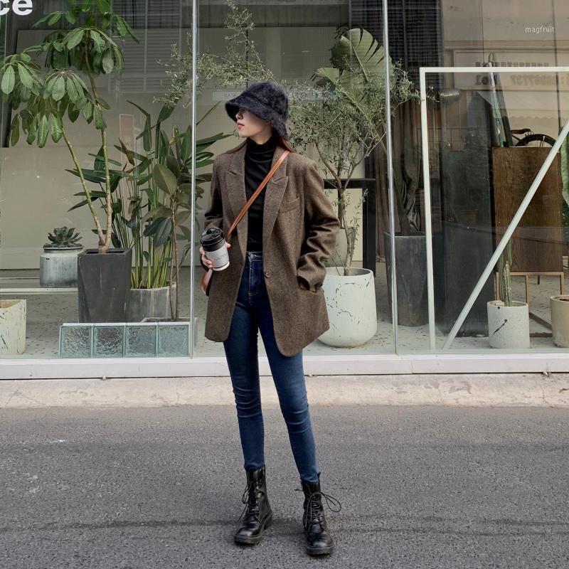 Moda outono mulheres listra blazers de lã e jaquetas escritório escritório senhora terno magro duplo breasted negócios feminino blazer coat1