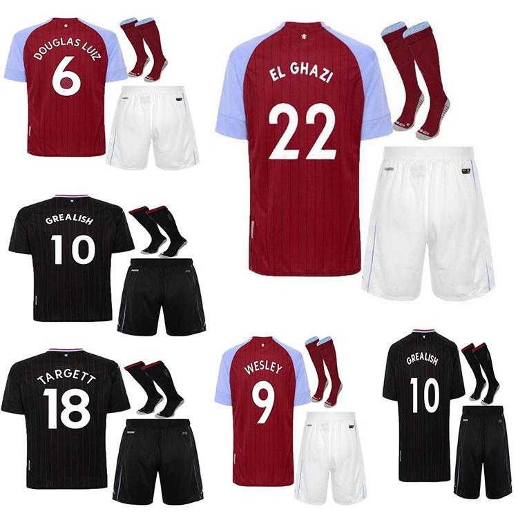Sale chaude2020 2021 Aston Villa Soccer Jerseys 20 21 Wesley Breakish Shirt de football El Ghazi Hourihane M.Trezeguet McGinn Men + Kit Kit Chaussettes