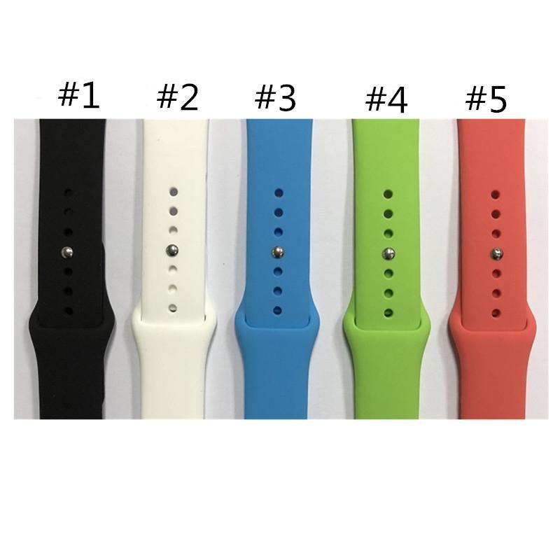 Sonderförderung Allgemeine Uhrenarmband 38 Candy Color Silikon Smart Watch Band Edelstahl Snap Schnalle Sportuhr Band
