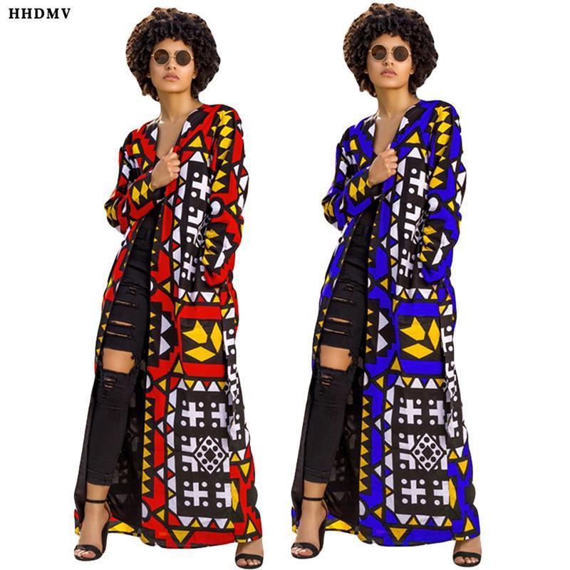 HHDMV donne della molla strada causale Survival manica lunga stile outwear lungo senza colletto nessun pulsante ante stampate outwear
