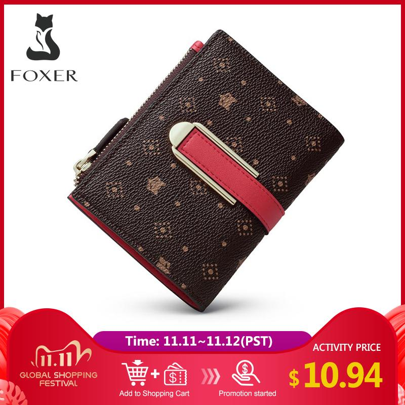 Foxer Female Signature Small Purse Embossing Wallet Mini Ladies Money Chic PVC Leather Women Card Holder Fashion Clutch Bag Q1106