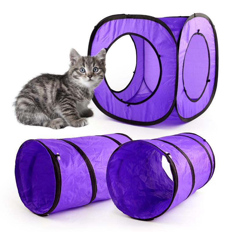 Chat drôle Jouets chaton pour animaux Jouer Tente Tunnel Aire de jeux Jouets d'extérieur pliable Cat Tunnel combinables Jouets pour chat