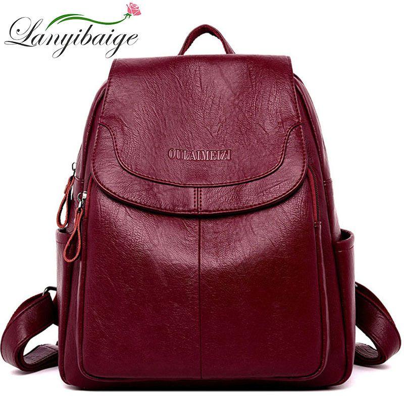 LANYIBAIGE Женщины Кожа рюкзаки Женский мешок плеча дамы Bagpack Урожай ранцы для девочек путешествия рюкзаке Sac A Dos C1008