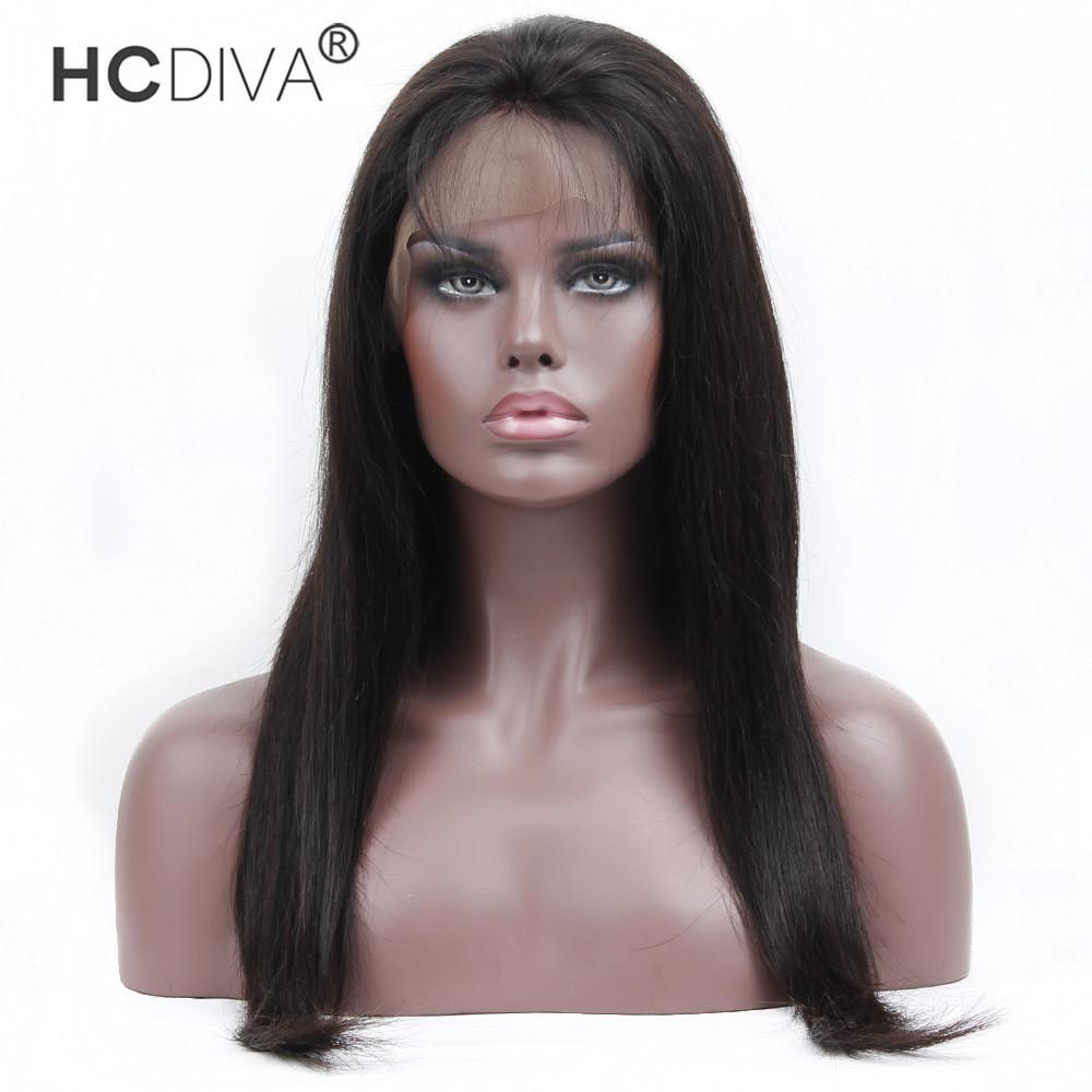 페루 버진 인간의 머리 가발 13 * 4 레이스 프론트 가발 스트레이트 14-22 인치 150 % 밀도 Prepluck 아기 머리카락 흑인 여성을위한 자연 블랙
