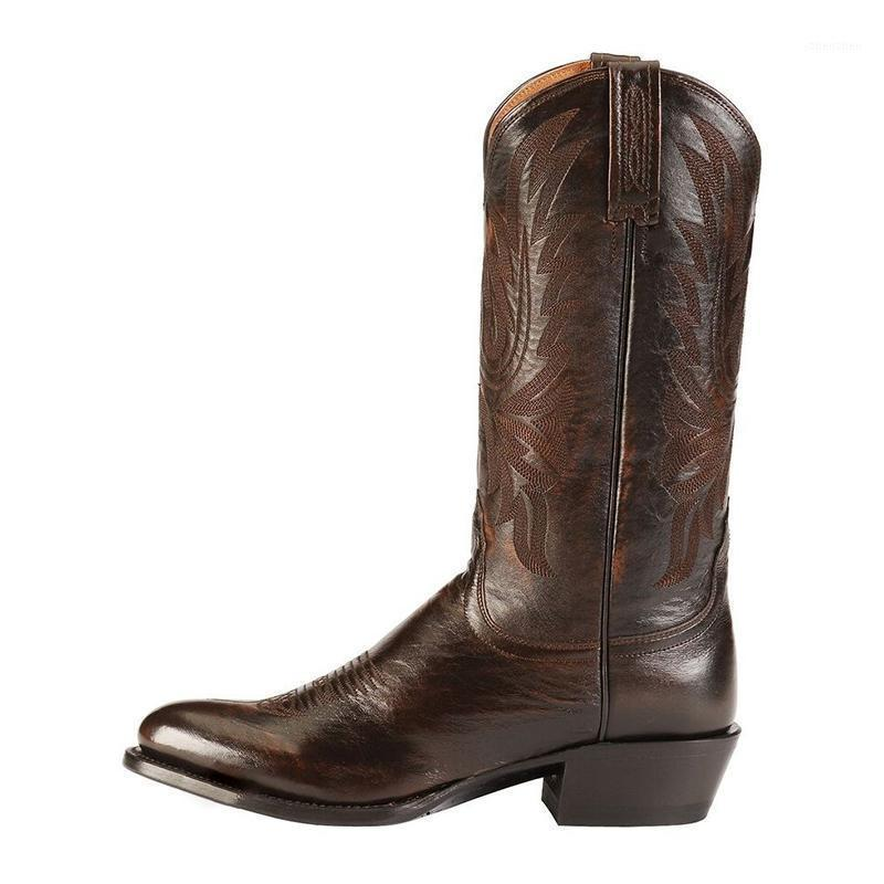 Сапоги середины теленка вышивка женская 2021 осень зима женские кожаные каблуки женщина скольжения на дама ретро женская обувь плюс размер 461