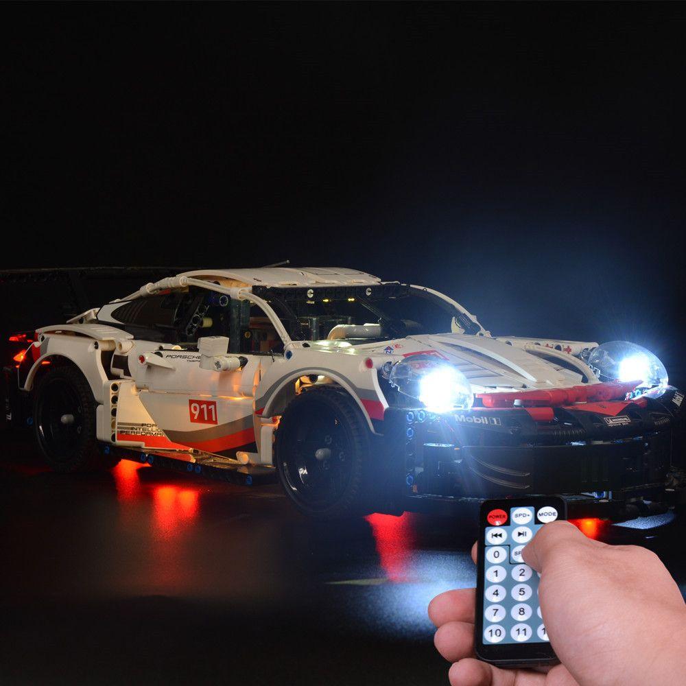Lumière LED pour la série 42096 Série Technic White Super Racing Constructions Blocs de construction uniquement Lumière incluse) 1008