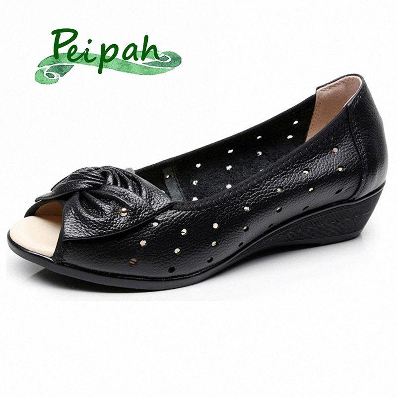 PEIPAH più il formato 35 43 Donna Sandali Genuine Leather Casual cunei Estate Platform Sandali donna nodo della farfalla Madre Scarpe per Lcq5 #
