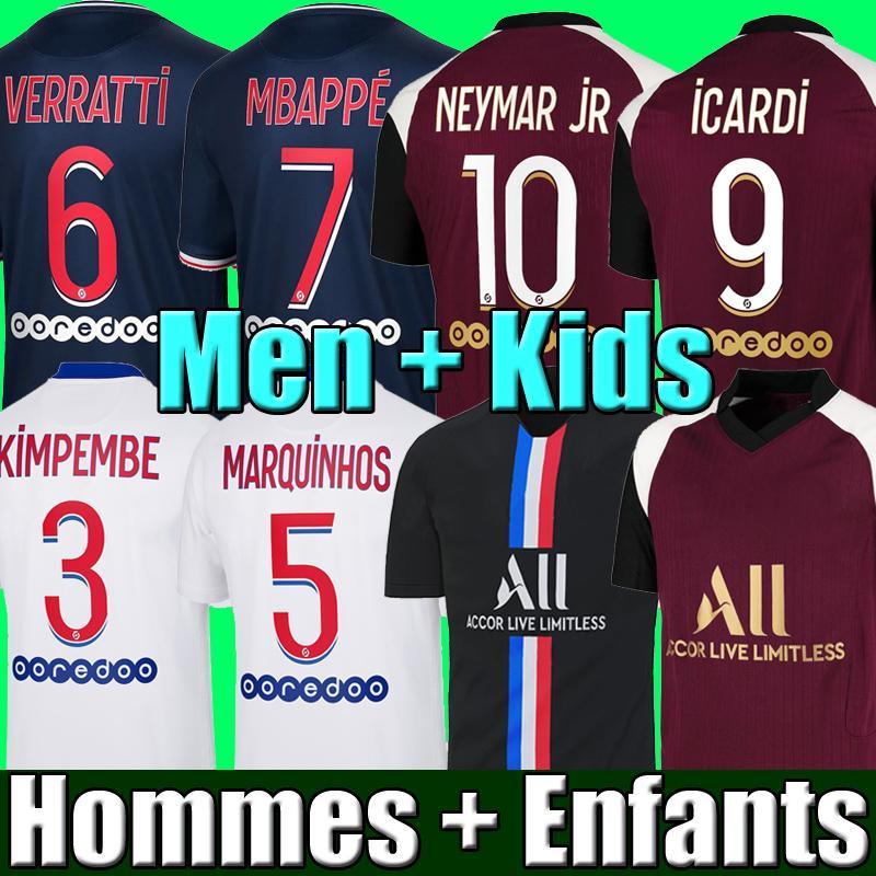 Maillots de Football Kits 20 21 كرة القدم جيرسي 2020 2021 mbappe icardi neymar قميص jr الرجال الاطفال مجموعات موحدة مايلوت دي القدم hommes enfants
