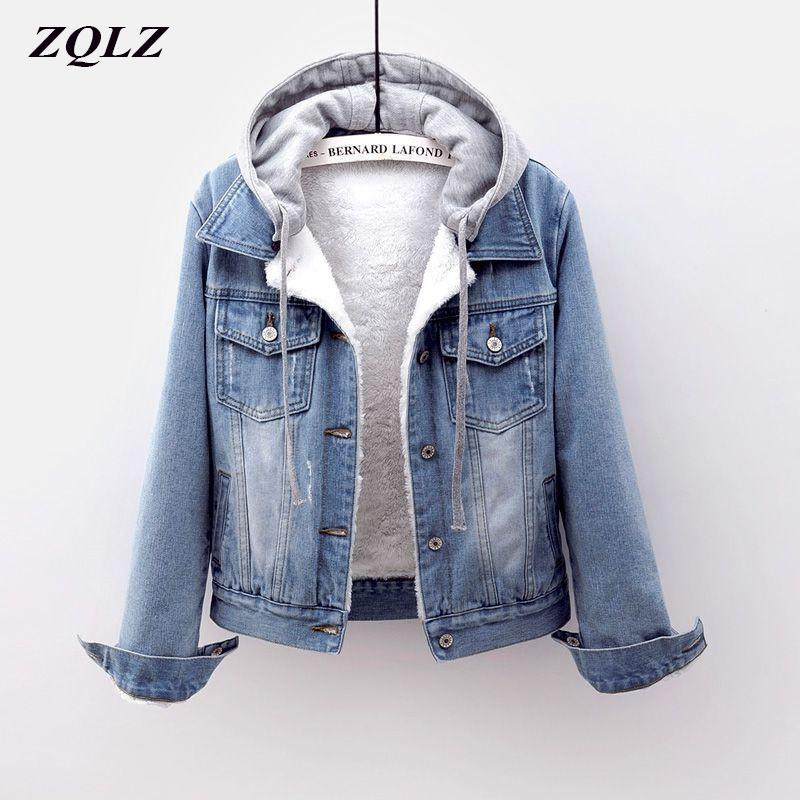 ZQLZ Плюс Размер S-5XL Зимняя куртка Женщины Новый Толстый с капюшоном джинсовой пальто Женский Повседневный Короткий Parka Mujer Jean Jacket 201007