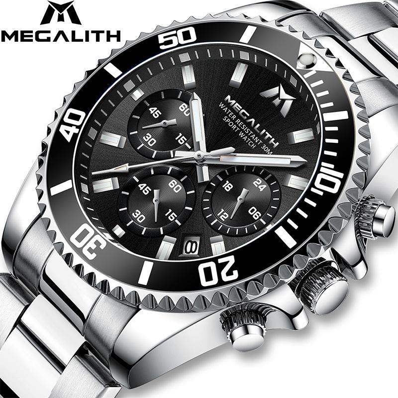 Megalith Moda Mens Relojes Top Marca Cronógrafo de lujo Impermeable Colck Men Watch Gents Reloj Hombre Sport Wrist Watch LJ201124