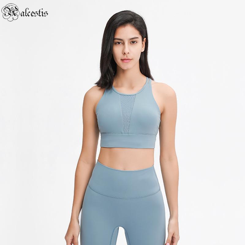 2021 malha esportes elásticos sutiã sutiã puxar alto pescoço redondo recolher ioga à prova de choque ioga fitness esportes underwear mulheres
