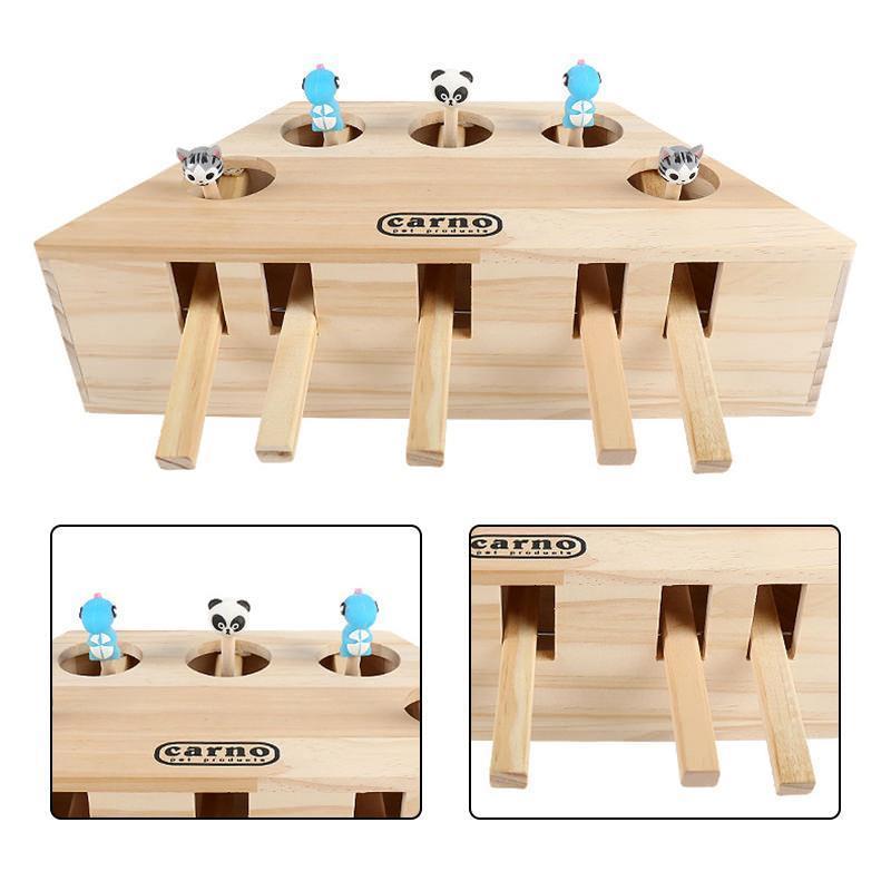 Cat Hunt игрушка Крытых Интерактивная Pet Cat Хит Solid Wood Ground Mouse игрушка 3/5-перфорированными Мышь сиденье Царапина игрушка