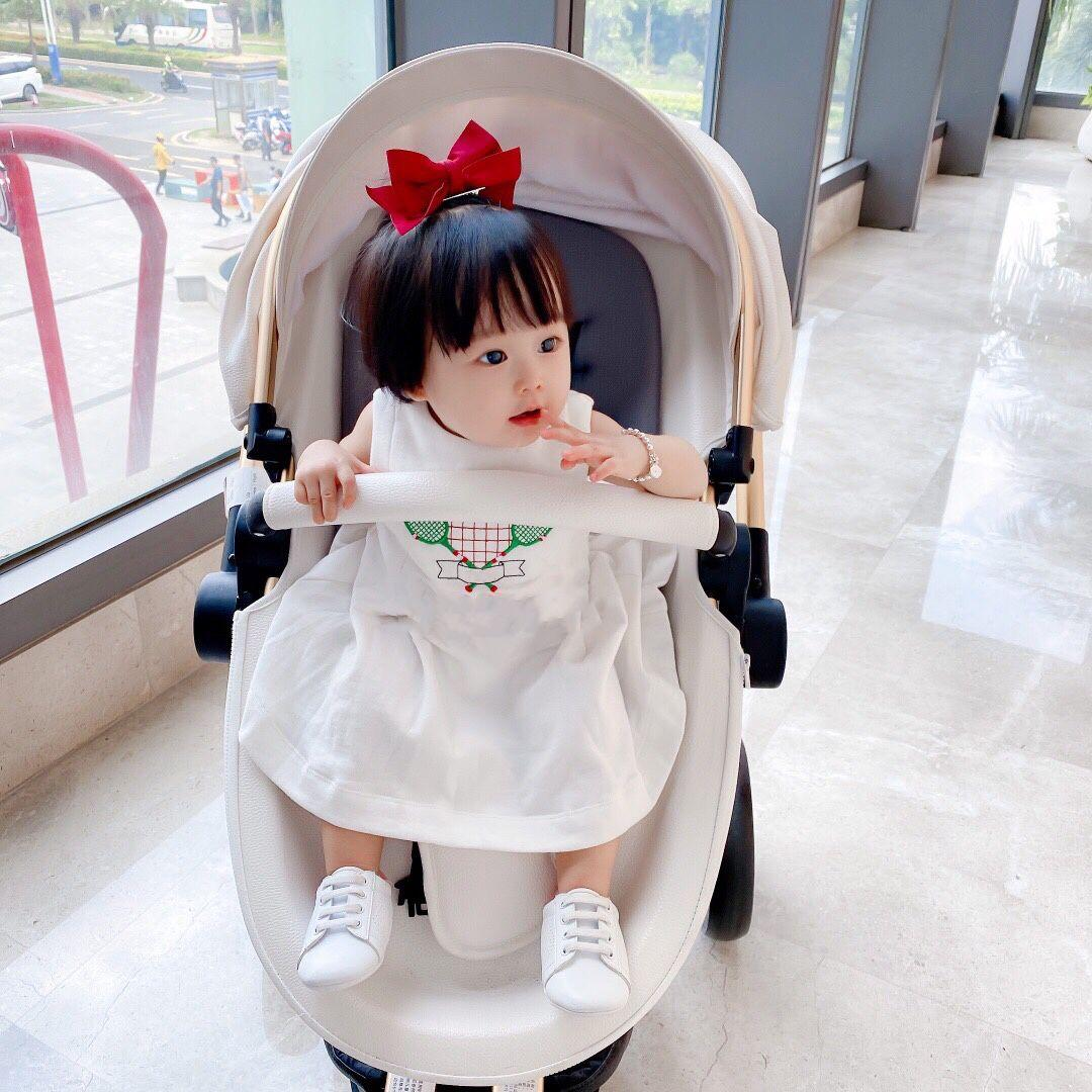 high quality free shipping Girls' linen dress 2021 summer new fashion sleeves loose baby strap princess dress