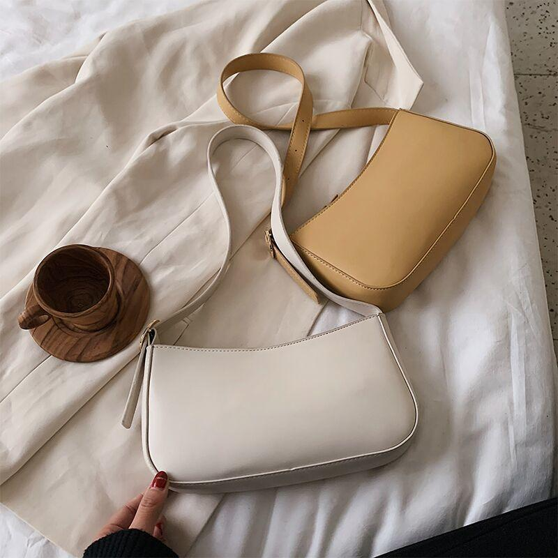 Cute Solid Color Small PU Leather Shoulder Bags For Women 2021 Summer Simple Handbags and Purses Female Travel Totes Q1230
