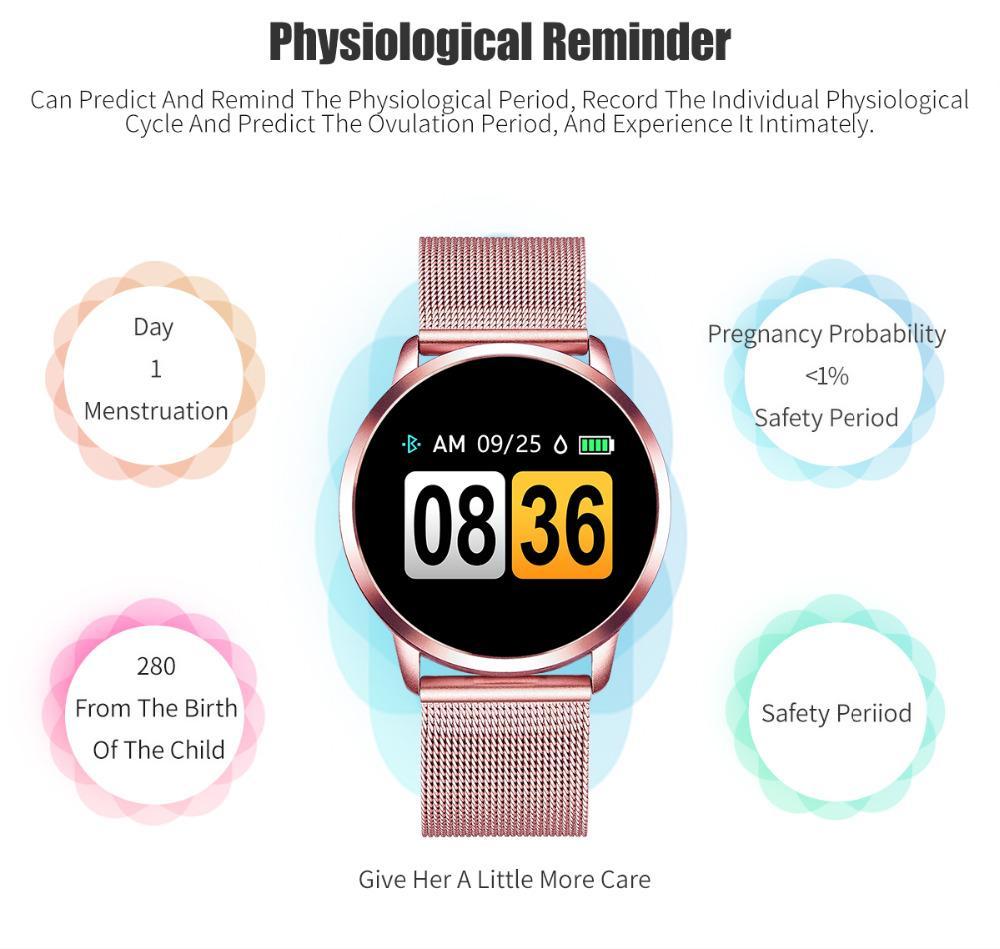 Tela Q8 relógio inteligente OLED a cores relógio inteligente Mulheres Moda de Fitness Rastreador Heart Rate Monitor Hot Sale